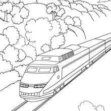 High Speed Rail Travelling In A Mountain Landscape Train Coloring Pages Forest Coloring Pages Mountain Landscape