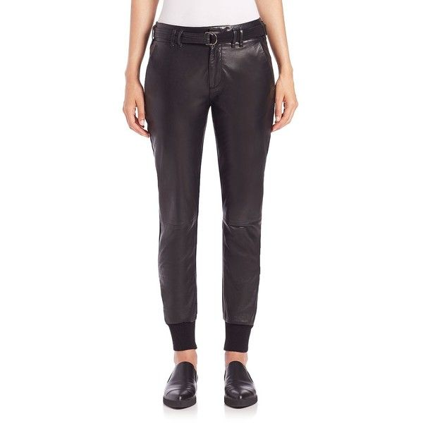 Vince Leather Belted Jogger Pants ($695) ❤ liked on Polyvore featuring pants, apparel & accessories, black, cuffed jogger pants, black trousers, jogger pants, black zipper pants and elastic cuff pants