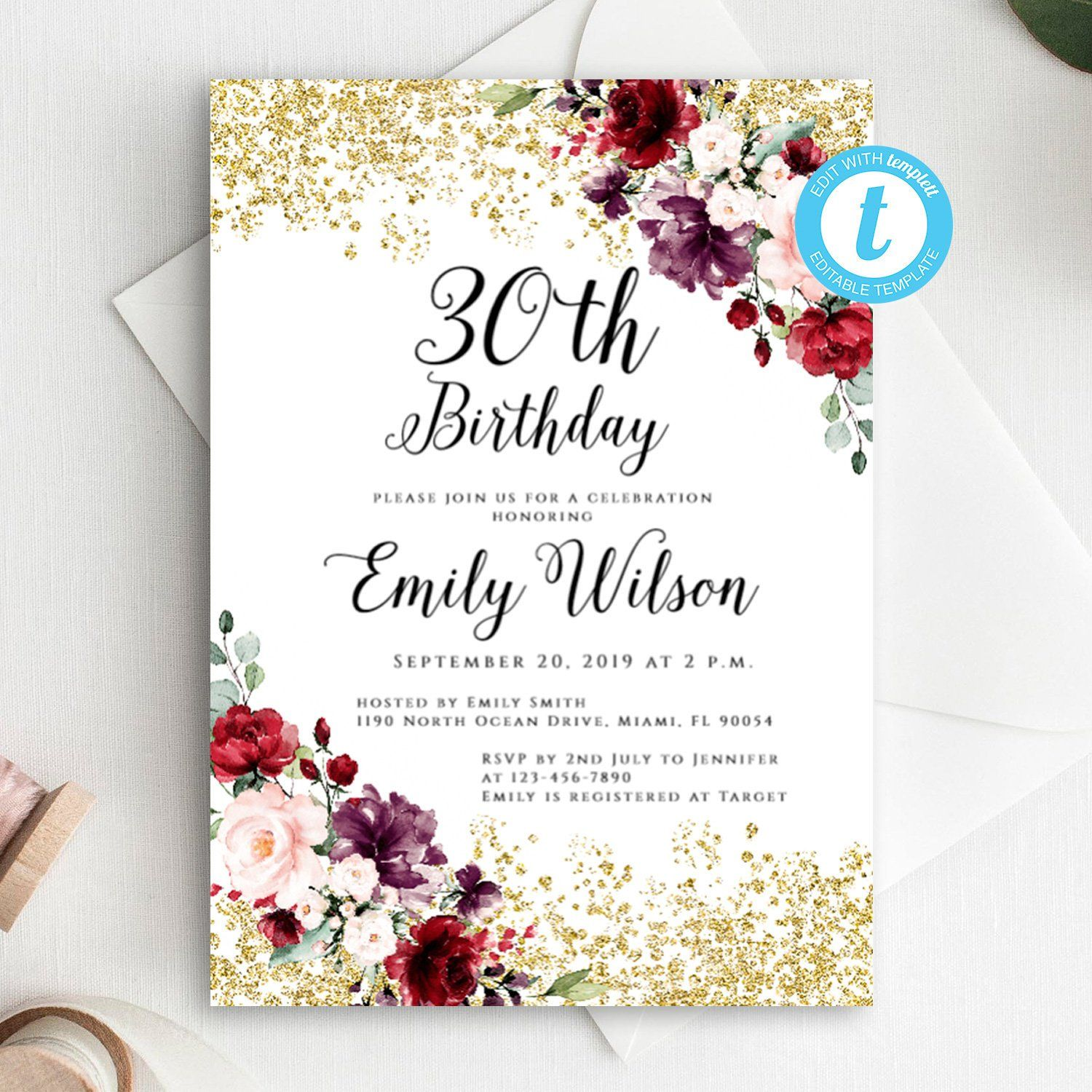 Marsala Glitter Birthday Invitation Editable Template 30th Adult Printable Templett