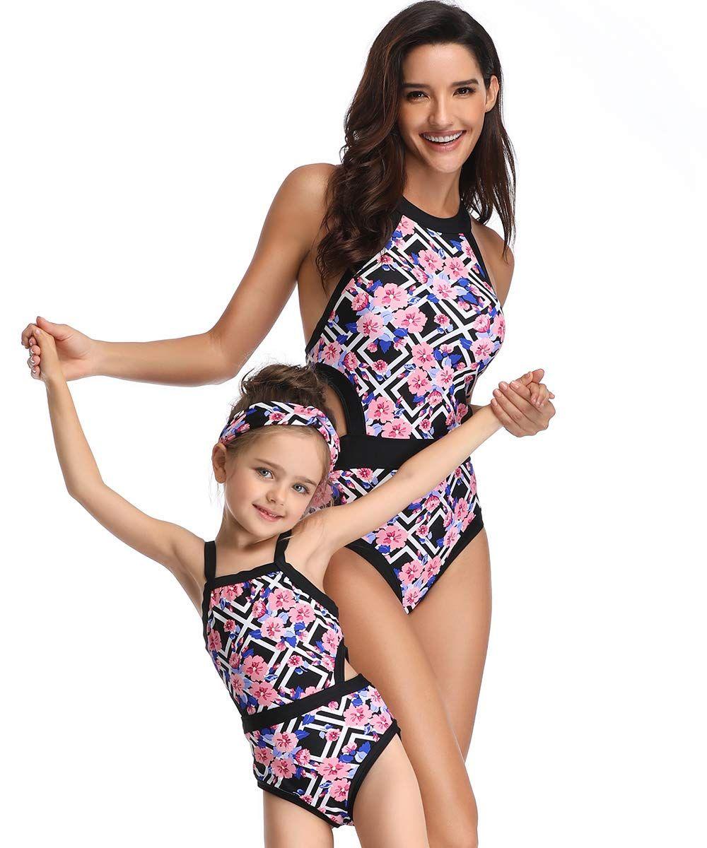 SHOOYING Girls One Piece Swimsuits Family Matching Swimwear 3