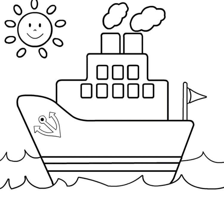 Ship Coloring Page For Kids Buku Mewarnai Warna Lembar Mewarnai