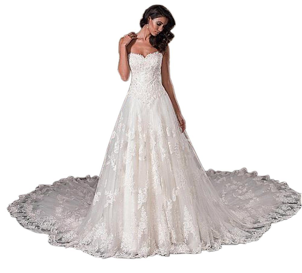 Dressylady womenus a line sweetheart lace applique wedding dress