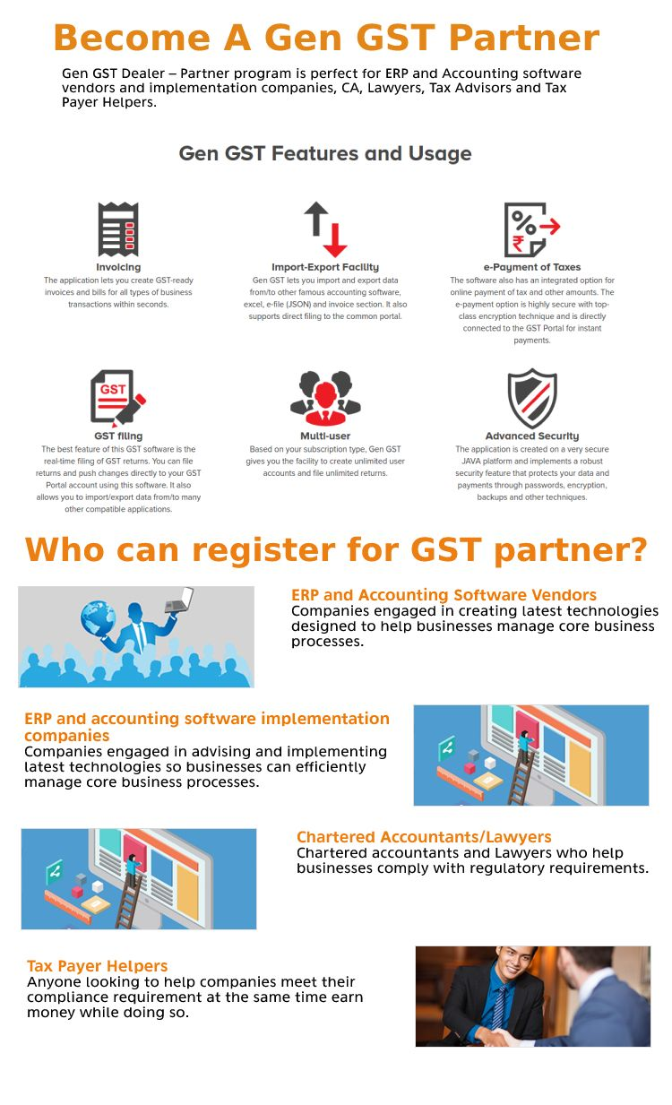 Be our GST partner for the Gen GST Software and make more money with