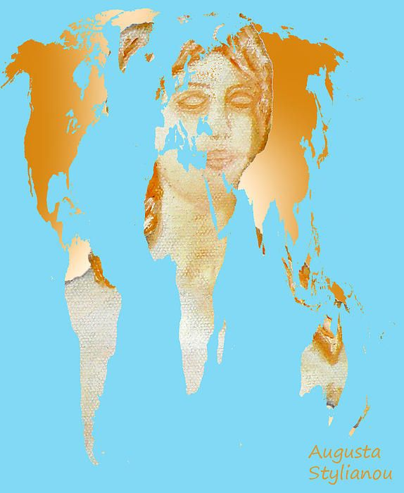 Aphrodite And World Map  Augusta Stylianou