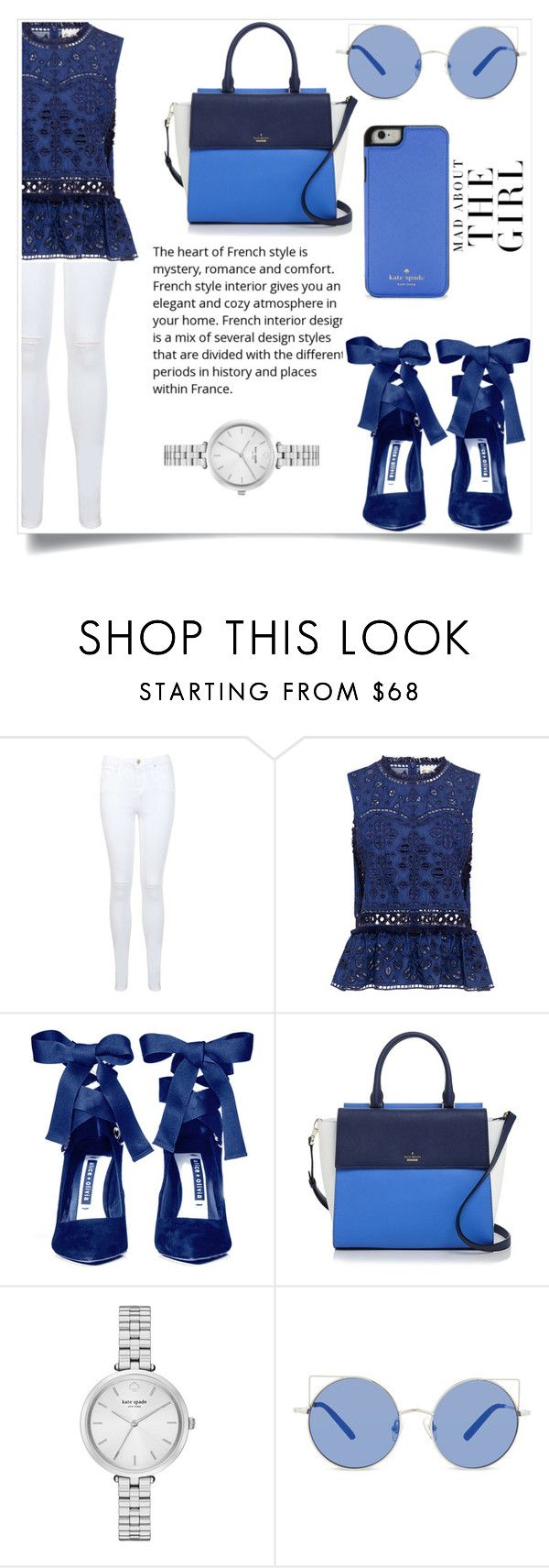 """Blue Sunday"" by harrariz ❤ liked on Polyvore featuring Miss Selfridge, Sea, New York, Alice + Olivia, Kate Spade, Matthew Williamson and Kershaw"