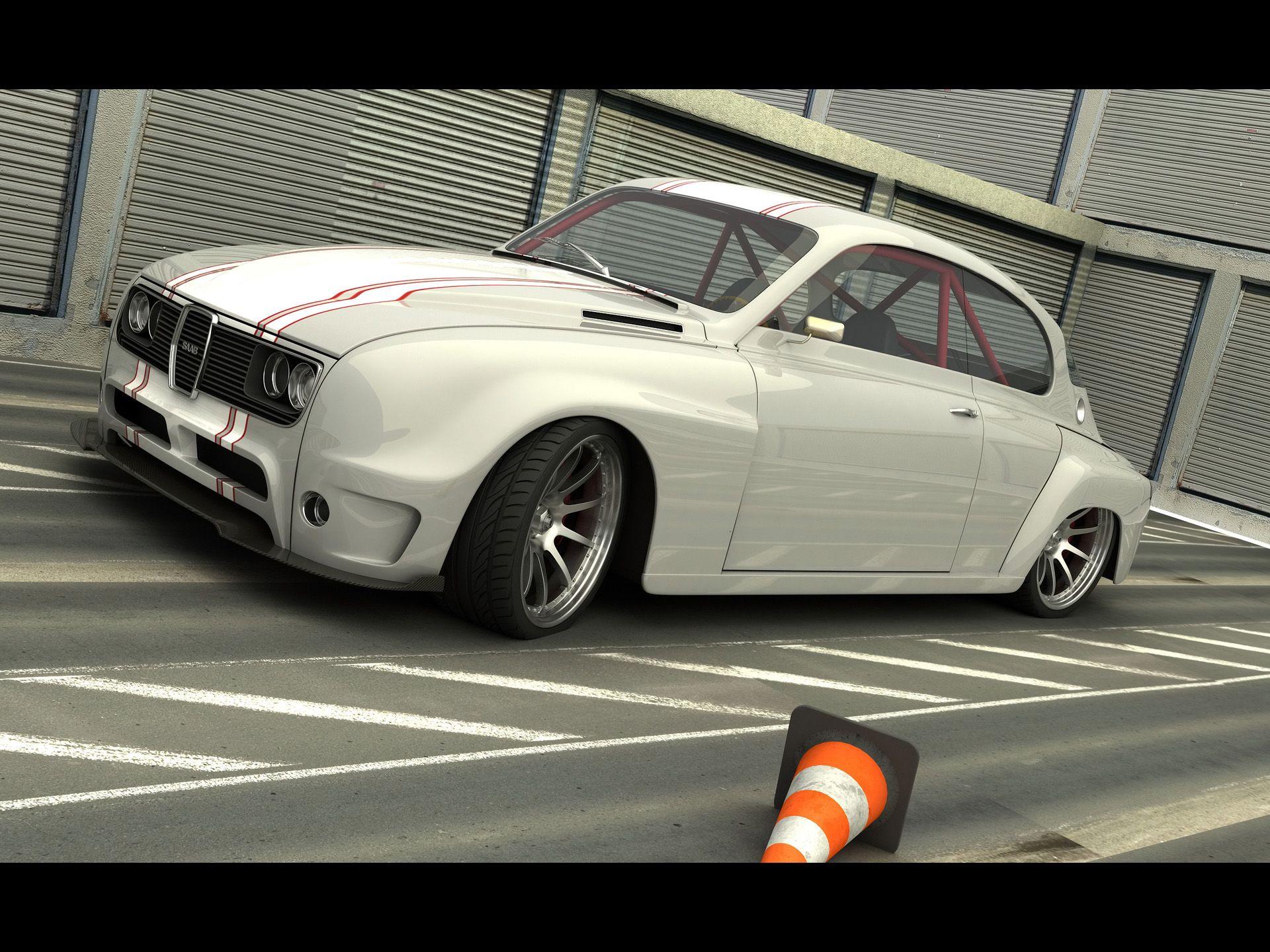 2010 Saab Custom 1968 By Vizualtech White 1920x1440 Wallpaper Saab Automobile Saab Retro Cars