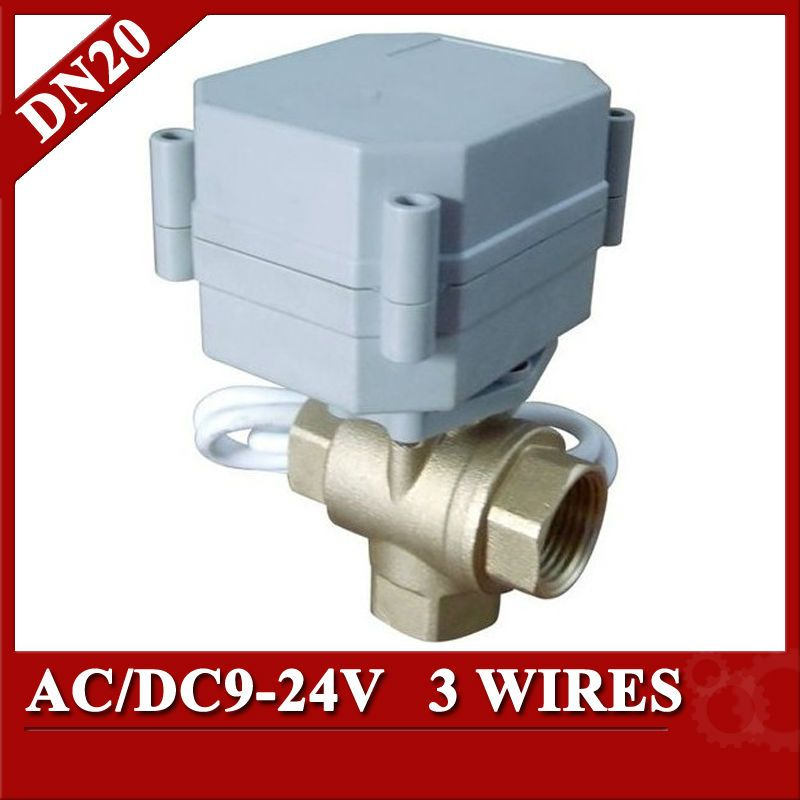 3 4 Ac Dc9 24v Dn20 Brass 3 Way T Port Electric Valve 3 Wires Cr3 03 Motorized Ball Valve For Drain Water Water Softener Water Heating Solar Power Diy
