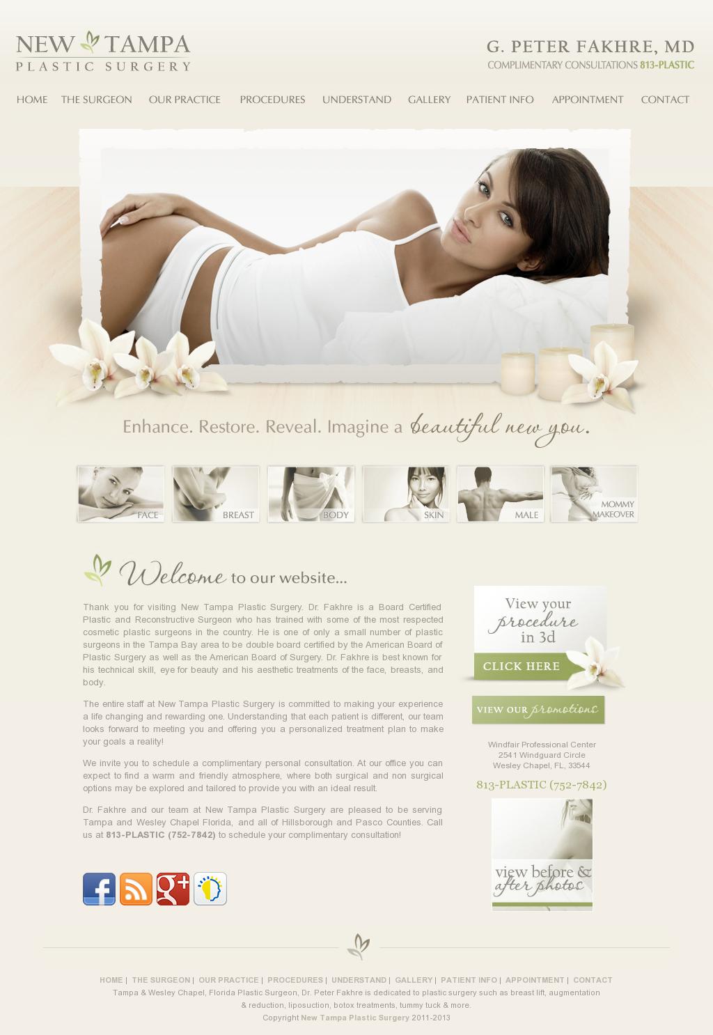 New Tampa Plastic Surgery Website Design Medical Websites Plastic Surgery Scientist