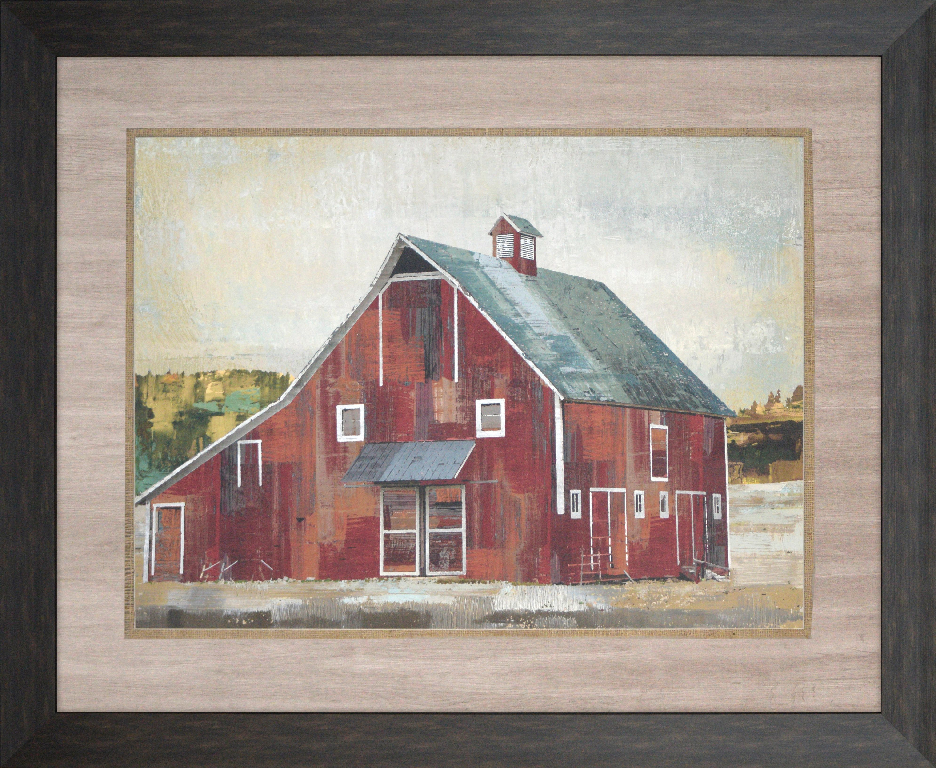 A Red Barn Is Textured And Accented With Burlap Fabric Framed In A Dark Wood Finish Molding Frames On Wall Framed Wall Art Wall Art