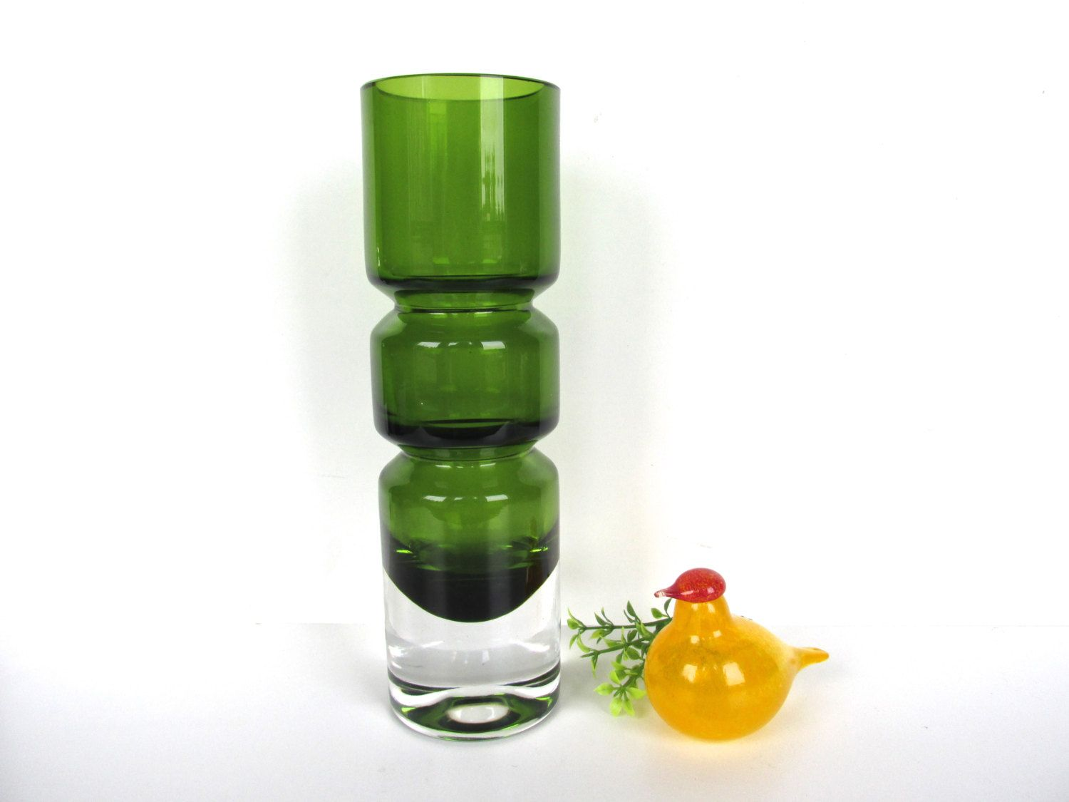 Mid Century Modern Scandinavian Hooped Glass Vase 9 Green Glass Art Vase Midcentury Modern Glass Green Glass