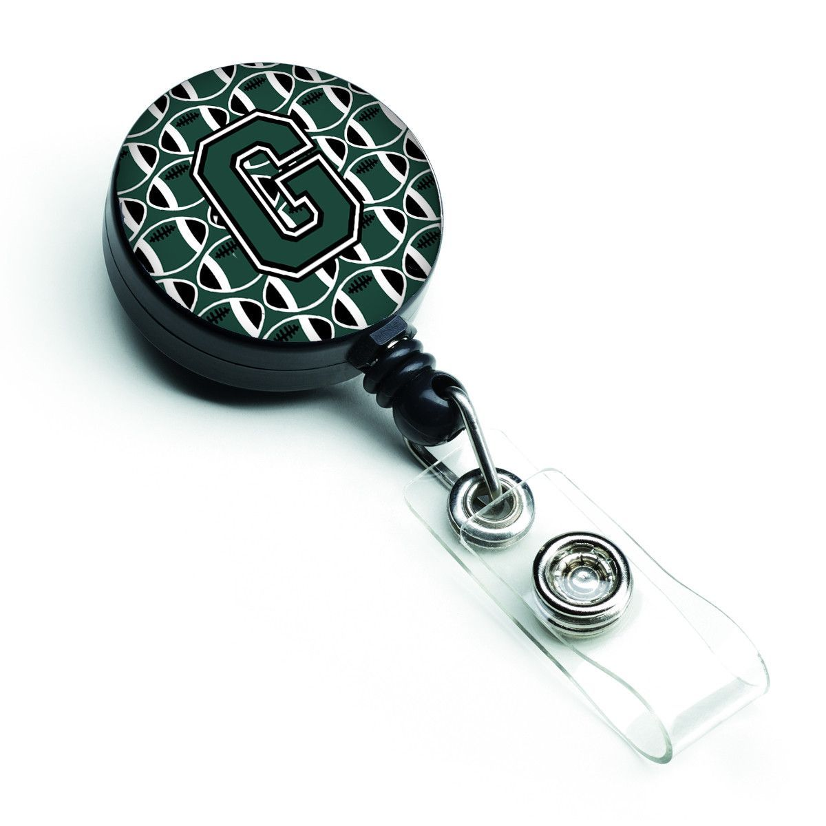 Letter G Football Green and White Retractable Badge Reel CJ1071-GBR