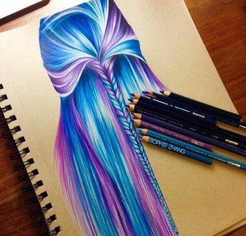 Art Beautiful Blue Color Cool Drawing Girl Goals Hair