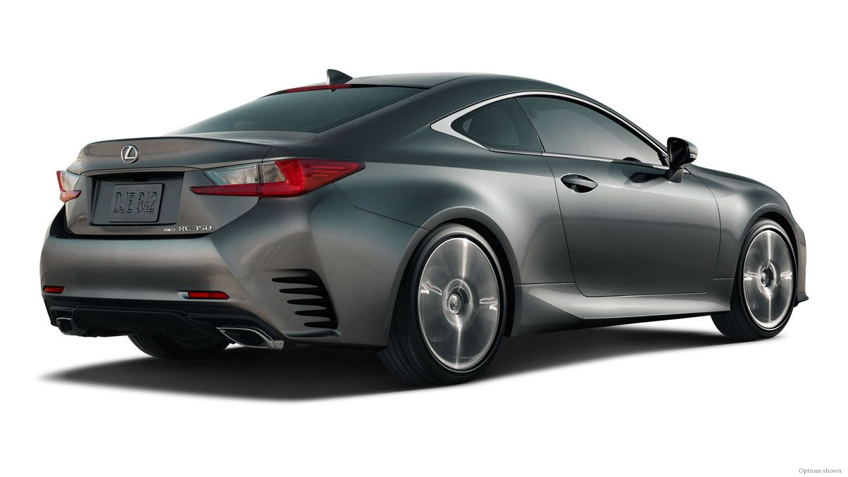 Exterior shot of the 2018 Lexus RC 350 shown in Nebula