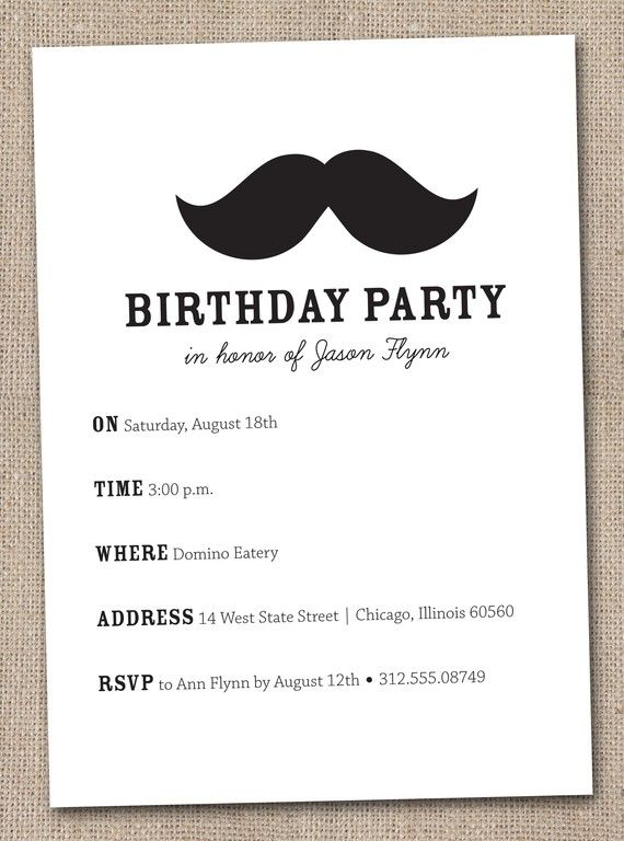 A mustache bash Best Party invitations and Birthdays ideas