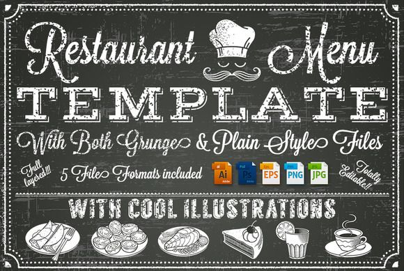 Vector Chalkboard menu Template | Menu templates and Chalkboards