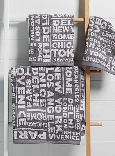 Les serviettes jacquard typo urbaine
