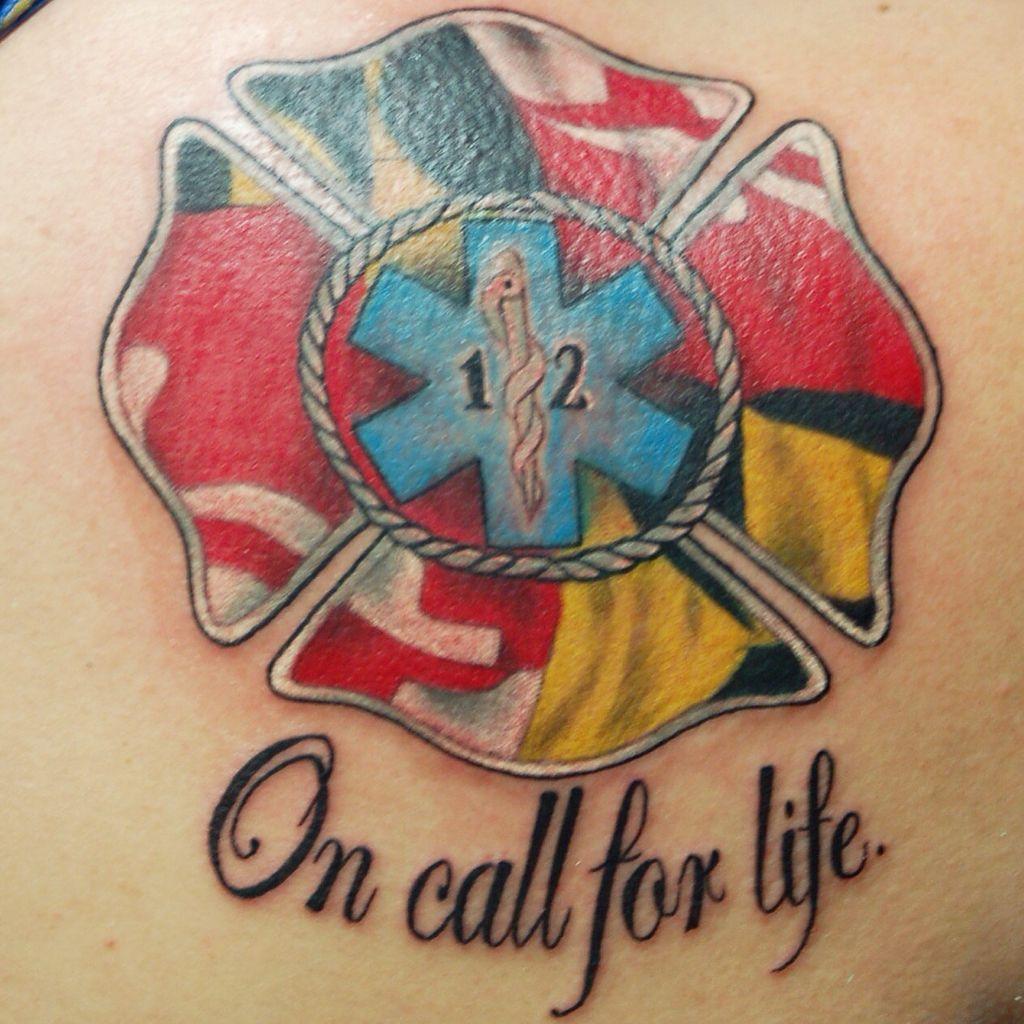 Custom Maryland Flag Ems Firefighter Tattoo By Joshua Doyon Ig Inkedupging Ems Tattoos Fire Fighter Tattoos Fire Tattoo