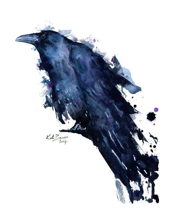 Raven Watercolor Raven Print Archival Print By Milkandhoneybread