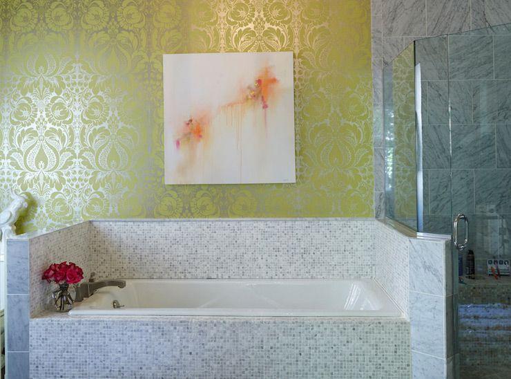 Fantastic bathroom features pastel abstract art on metallic yellow ...