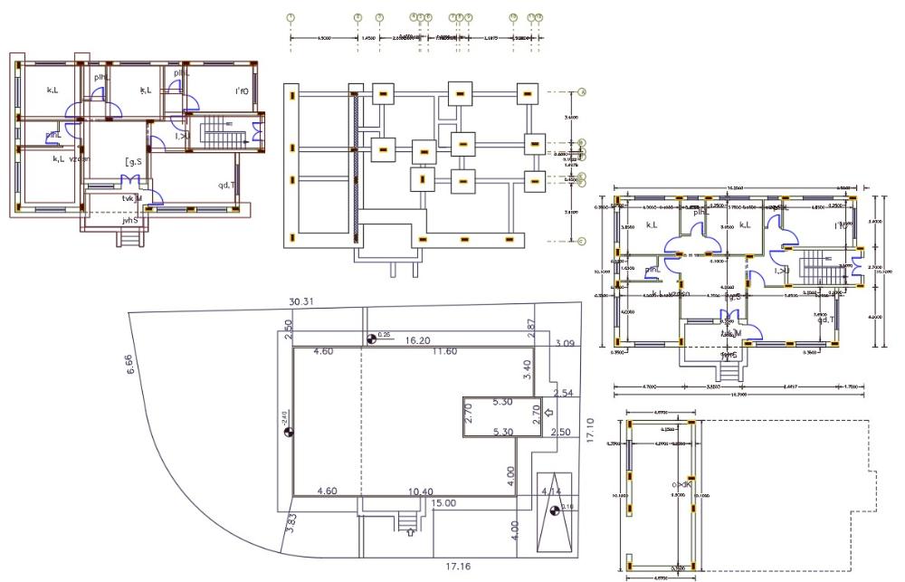 32 X 52 House Plan Design Dwg File 185 Sq Yards Home Design Plans Plan Design House Plans