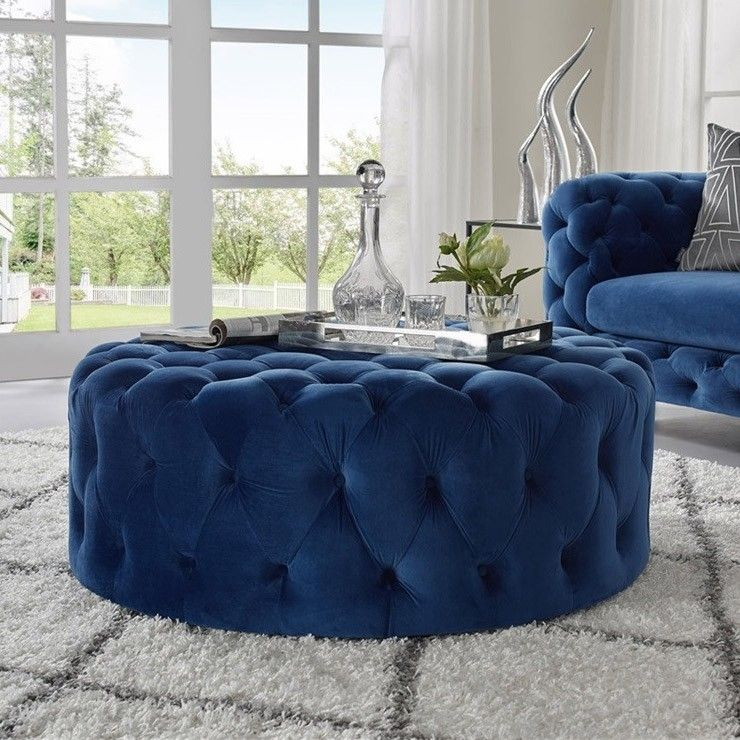 Tufted Ottoman Light Gray Pink Beige Deep Blue Velvet Ottoman Coffee Table Tufted Cocktail Ottoman Round Ottoman Pouf Small Large In 2020 Ottoman Coffee Table Decor Ottoman Ottoman Coffee Table