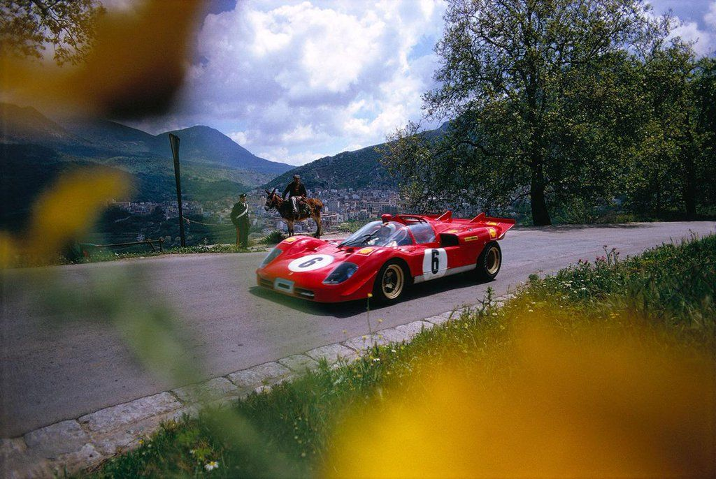 il Cavalino & the donkey. Nino Vaccarella, Ferrari 512S at Targa Florio in 1970. With Ignazio Giunti finished third.
