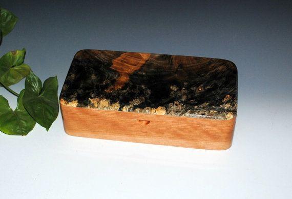 Handmade Wood Box With Tray-Buckeye Burl on Cherry- Jewelry Box Wooden Box Small Jewelry Box Wood Boxes Wooden Jewelry Box - Stash Box by BurlWoodBox