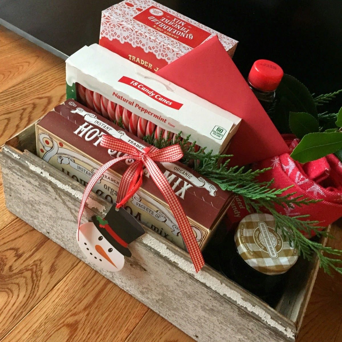 Christmas Gift Box from PLEASANT HOME.. Old barn wood box filled with yummy goodies!