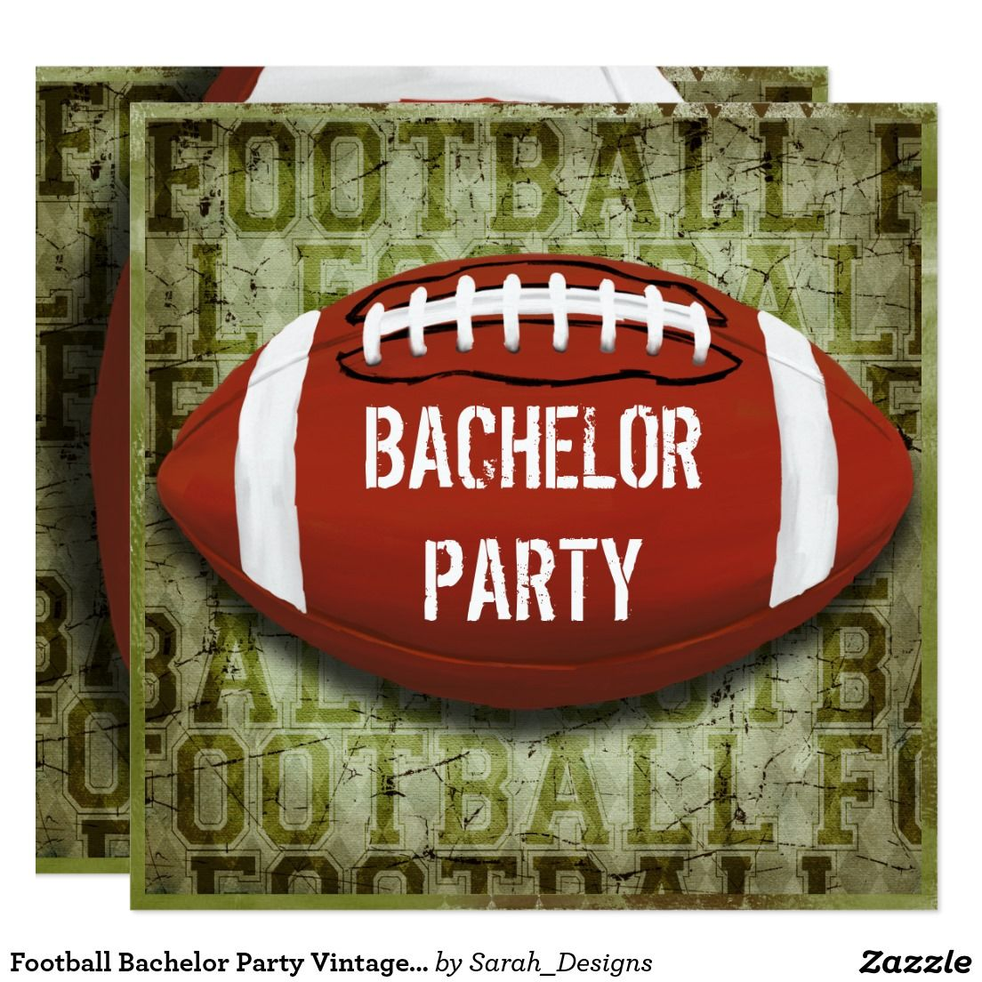 Football Bachelor Party Vintage Green Grunge Invitation | Bachelor ...