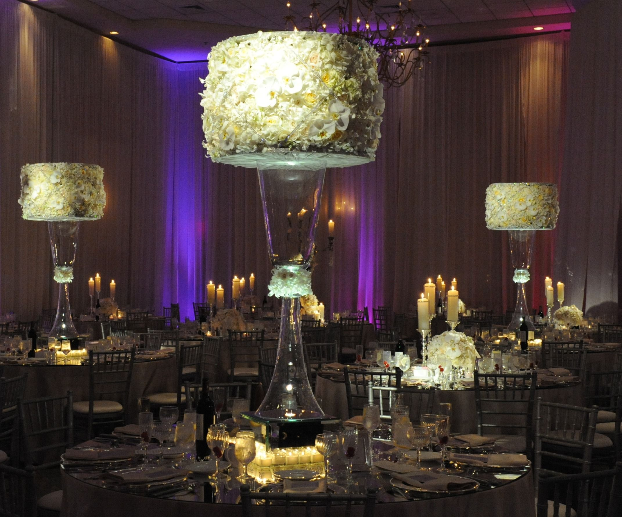 Large White Table Centerpiece With Glowing Mirror Box. #wedding #flowers # Decor Part 25