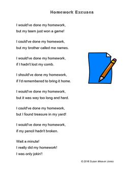 funny homework poems