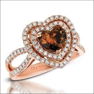LeVian Rose gold heart shaped chocolate diamond engagement ring