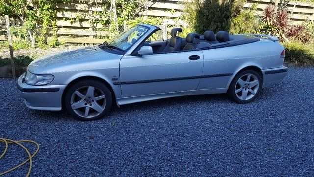 Silver Saab 93 Convertible Blue Roof Blue Roof
