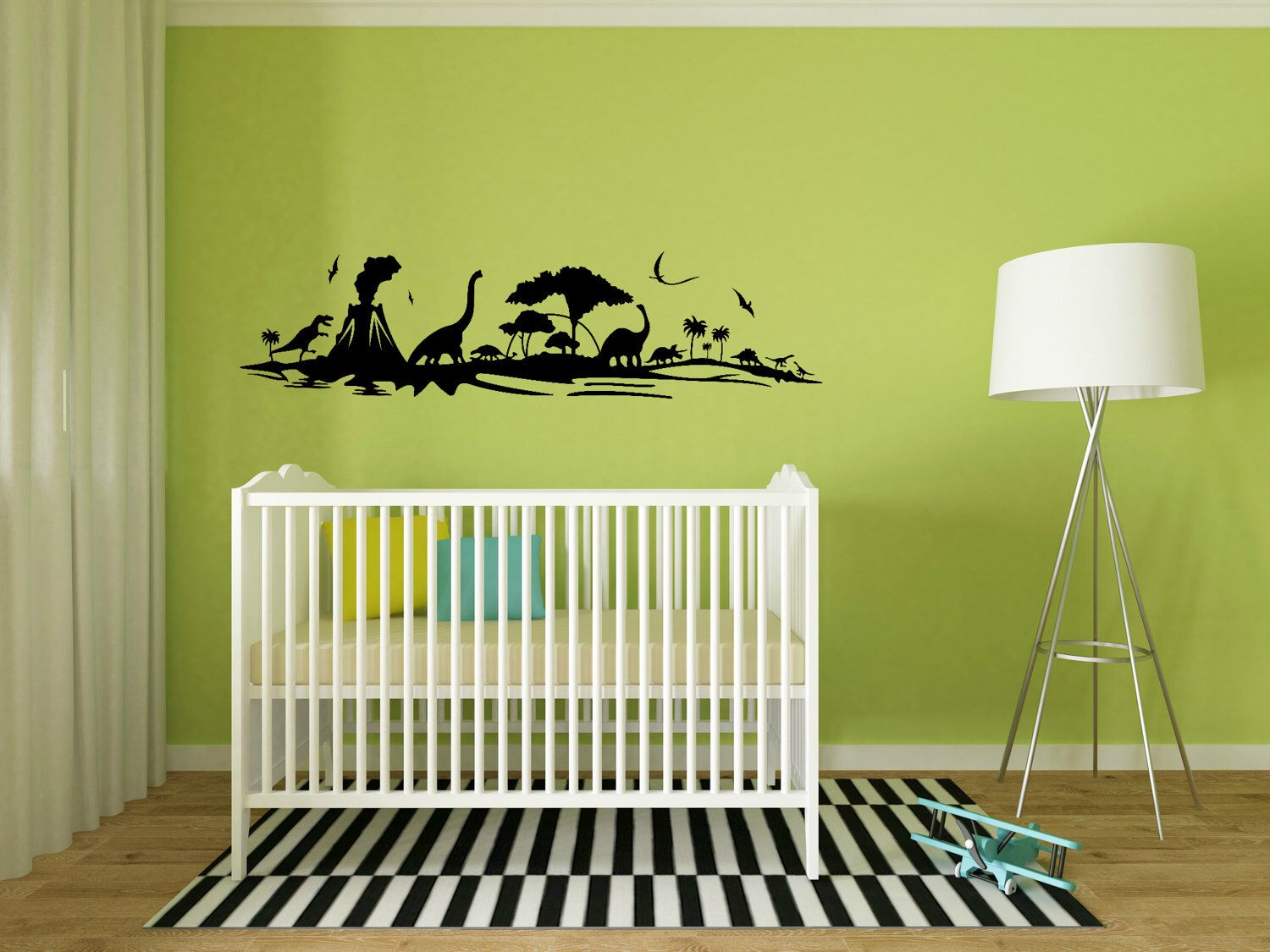 Dinosaur Wall Decal - Dinosaur Landscape Wall Decal - Dinosaur ...