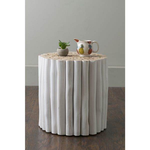 East At Main's Stanley White Round Teakwood Accent Table ...