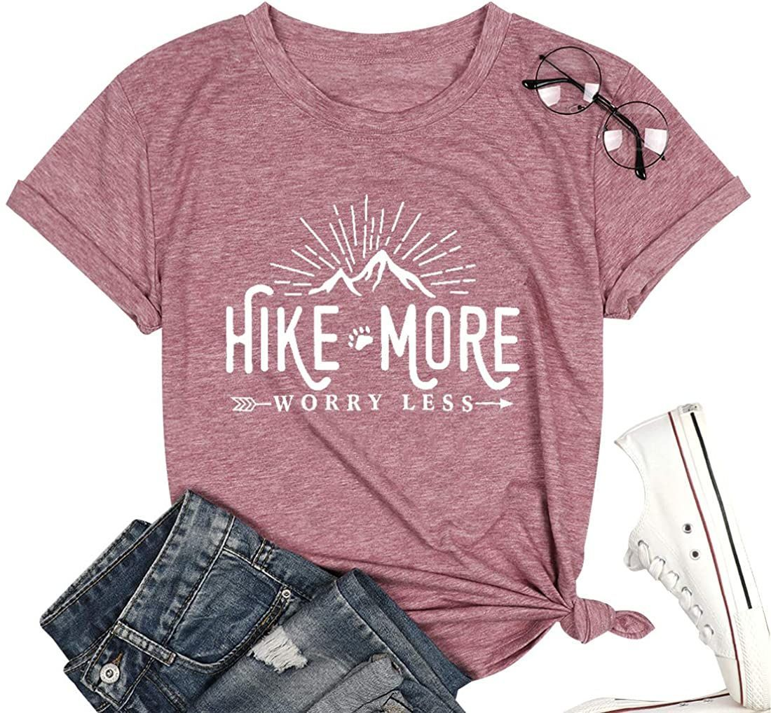 Hike More Worry Less Shirts for Women Hiking Shirt Funny Letter Print Tshirt Short Sleeve Shirt Gift for Hiker