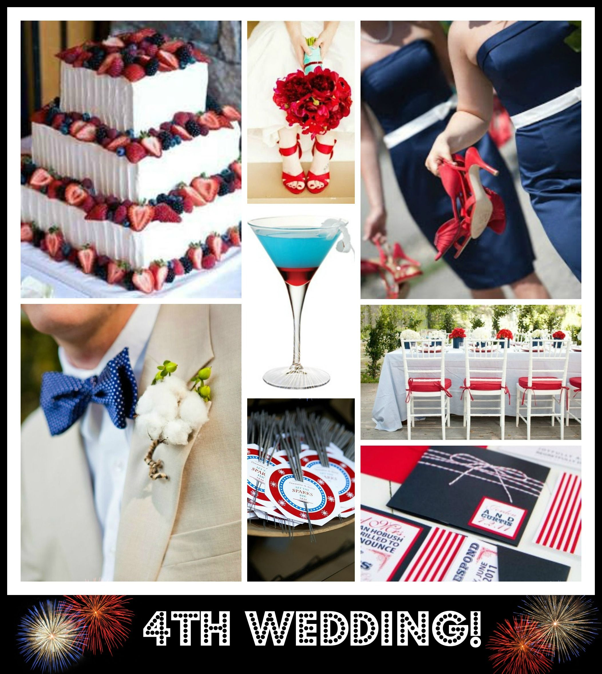 4th of July Wedding Inspiration! Love red, white and blue