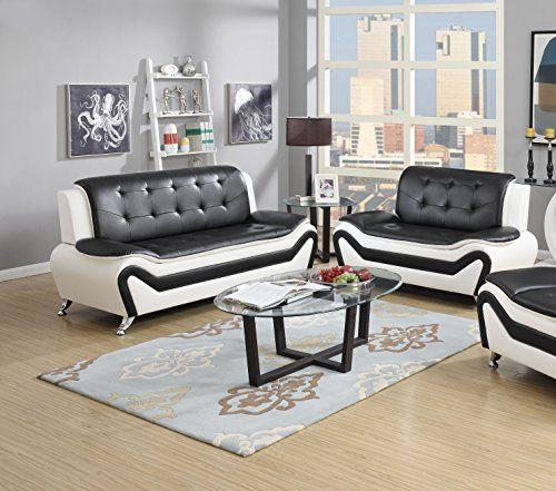 Best Us Pride Furniture 2 Piece Modern Bonded Leather Sofa Set 400 x 300