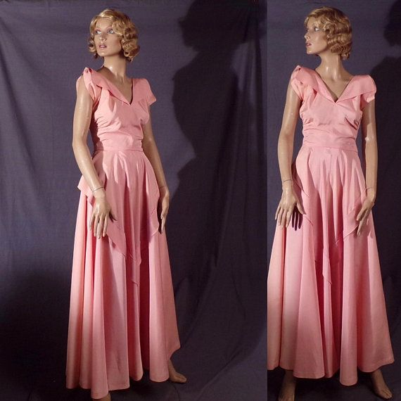 Vintage 1940s Dress - Stunning Pale Pink Taffeta 1940s Gown ...