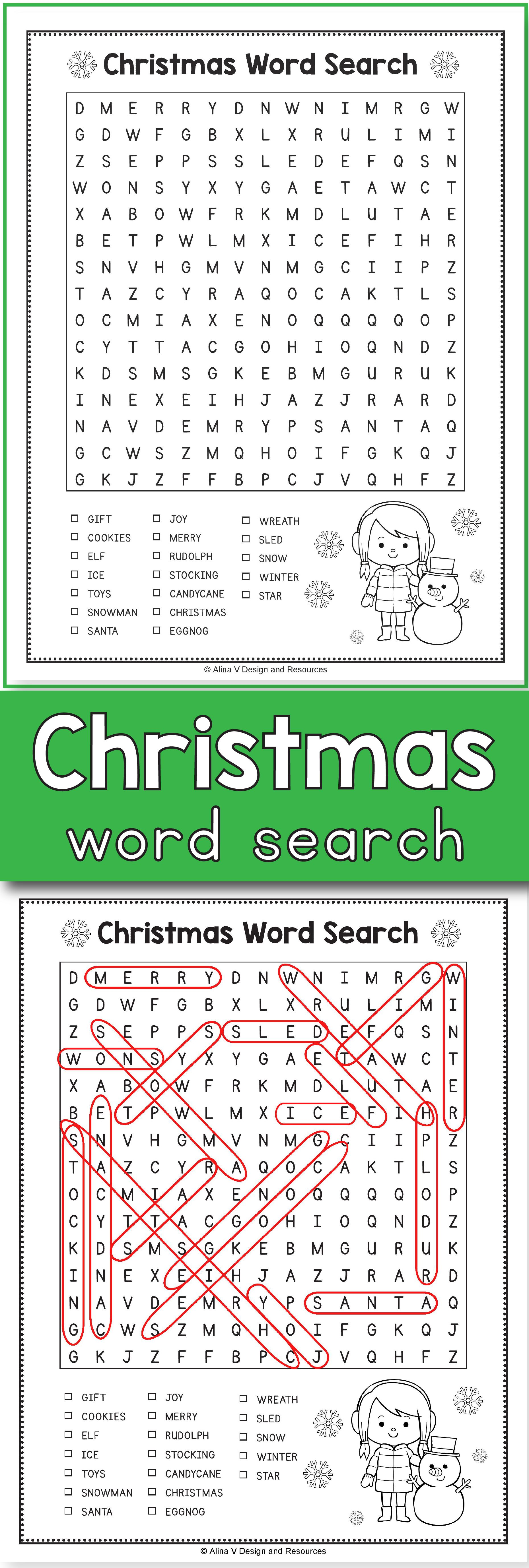 Christmas Word Search - Christmas Activities for 3rd Grade ...