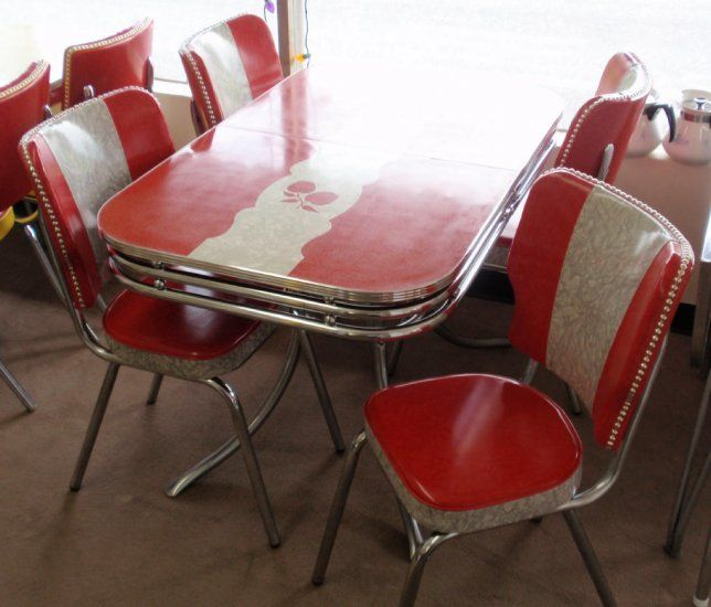 Black And White Retro Dining Table And Chairs Set: Restored Vintage Red Gray Apples Formica Dinette Table W