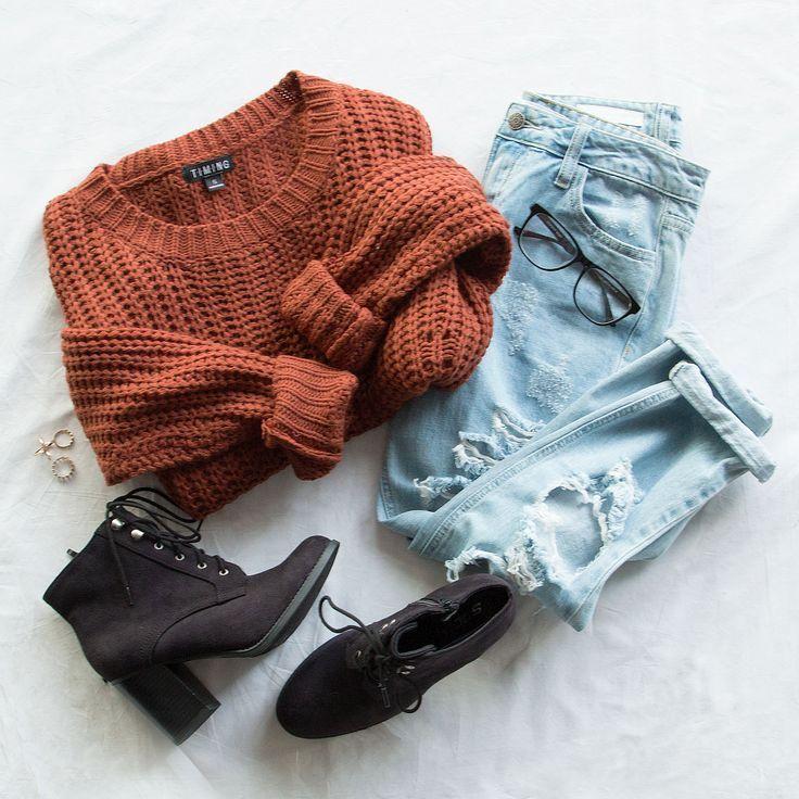 Riley Sweater - Rust - #rich #Riley #Rust #Sweater #wintergrunge