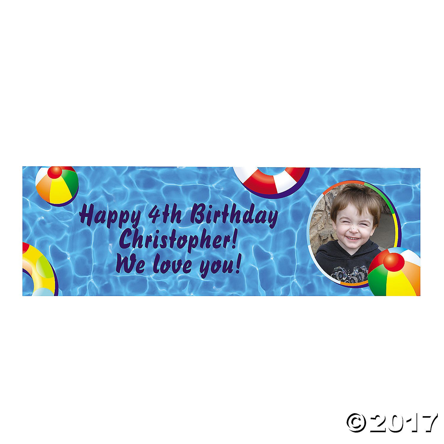 Personalized Pool Party Photo Banner - OrientalTrading.com
