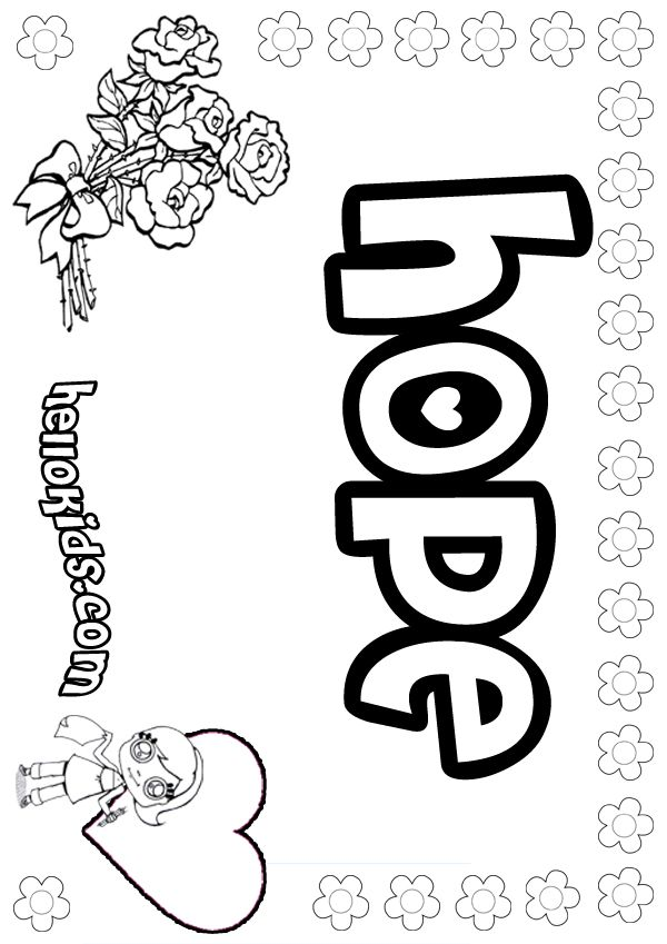 hope and dream coloring sheets free | ... coloring book girls name ...