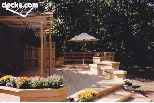 Like the discreet areas & circular area tucked in trees - Benches Seating Deck Picture Gallery-
