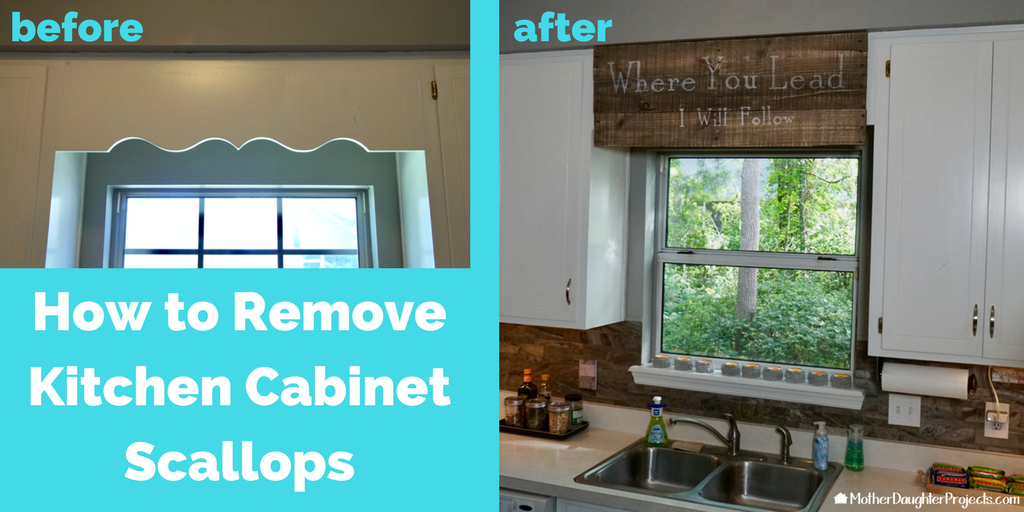 Cover Scalloped Wood Valance Over Kitchen Sink