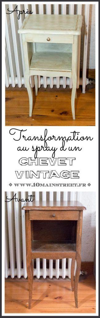 Transformer un meuble au spray  table de chevet des années 1950 - Peindre Table De Chevet
