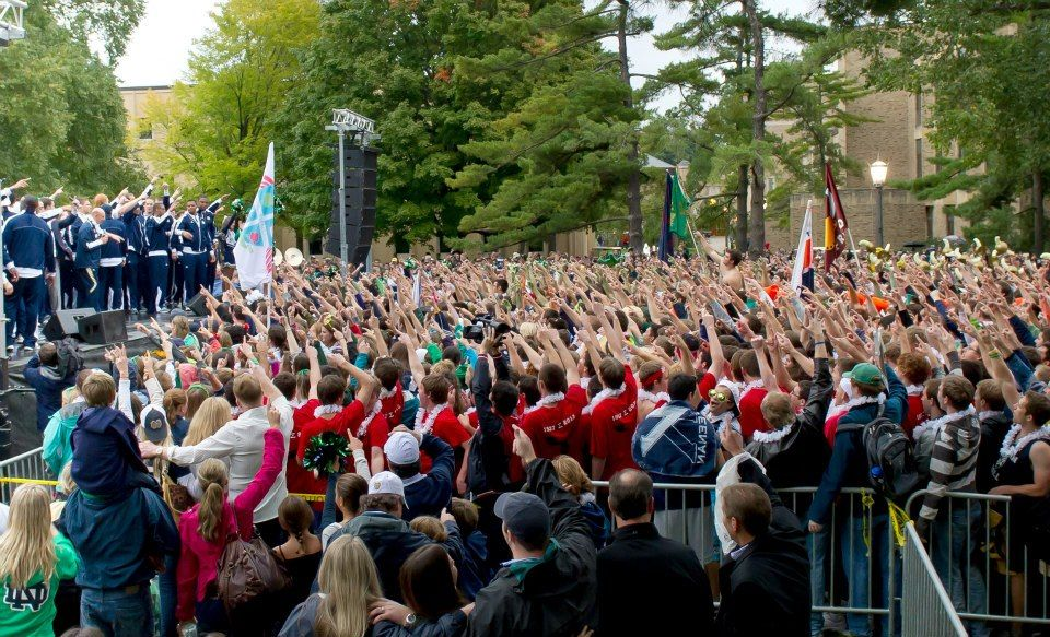Pep rally, Sept. 21, 2012, the day before Notre Dame-Michigan. (Matt Cashore/University of Notre Dame)