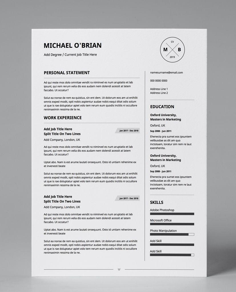 Basic Monochrome 2 Minimalist Double Page CV Resume