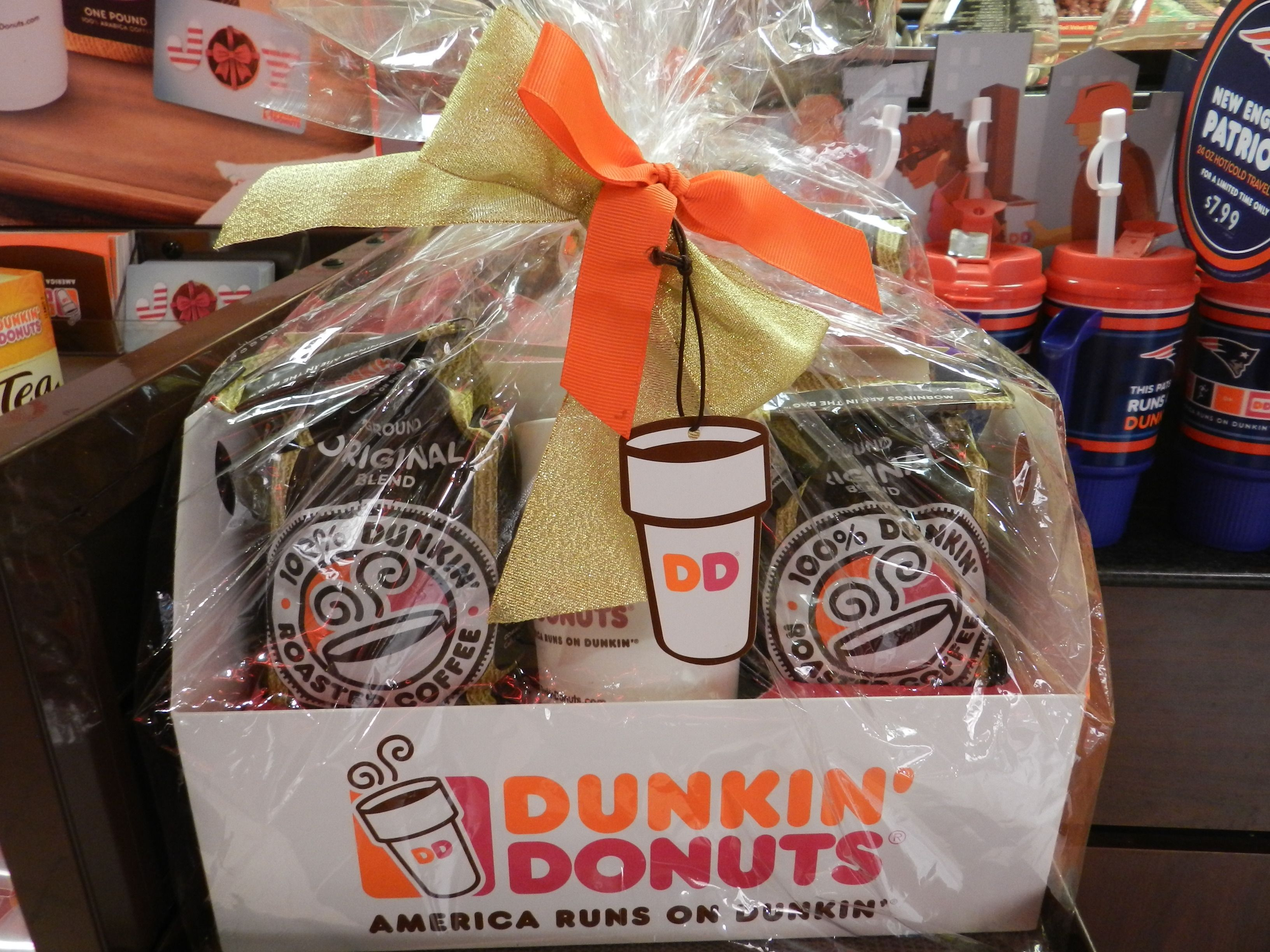 3 lbs of coffee in a cute gift basket from dunkin donuts are on sale at
